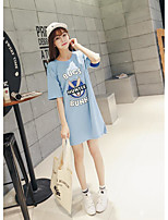 Women's Going out Casual/Daily Simple Spring Summer T-shirt,Solid Letter Round Neck ½ Length Sleeve Cotton Medium