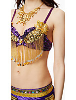 Belly Dance Tops Women's Performance Sequined 1 Piece Sleeveless High Bra