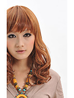 Capless Top Quality Long Brown Synthetic Fiber Wig With Neat Bangs Party Wig Hairstyle