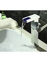 Contemporary Art Deco/Retro Modern Centerset LED Waterfall with  Ceramic Valve Single Handle One Hole for  Chrome , Bathroom Sink Faucet