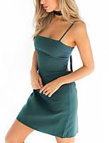 Damen A-Linie Kleid-Ausgehen Lässig/Alltäglich Klub Sexy Einfach Street Schick Solide Gurt Mini Ärmellos Polyester Frühling SommerHohe