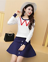 Women's Going out Simple Fall T-shirt Skirt Suits,Solid Round Neck Long Sleeve Cotton