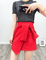 Women's A Line Solid SkirtsGoing out Casual/Daily Simple Street chic Mid Rise Above Knee Zipper PU Micro-elastic Fall Winter