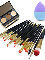 20pcs Makeup Brushes Set Eyeshadow Eyeliner Lip Brush Tool&3 Colors Eyebrow Powder Palette&1pc Beauty Puff