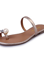Women's Slippers & Flip-Flops Summer Mary Jane Leatherette Outdoor Dress Casual Flat Heel Imitation Pearl Black Gold Walking