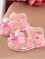 Girls' Sandals Spring Fall Comfort PU Casual Flat Heel Blushing Pink White