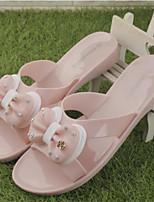 Women's Slippers & Flip-Flops Summer Slingback Rubber Casual Flat Heel Beige Black