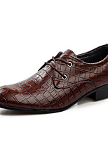Oxfords-Læder-Komfort Formelle sko-Herrer-Sort Brun-Bryllup Udendørs Fest/aften-Flad hæl