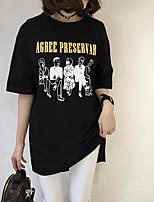 Tee-shirt Femme,Imprimé Décontracté / Quotidien simple ½ Manches Col Arrondi Coton Fin