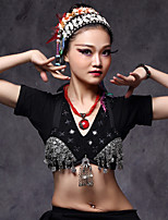 Belly Dance Tops Women's Performance Cotton Polyester Metal Silver Coins 1 Piece Bra