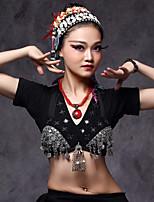 Dança do Ventre Blusas Mulheres Actuação Algodão Poliéster Metal Moedas de Prata 1 Peça Conjuntos de Sutiã e Calcinhas