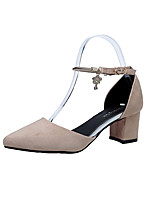 Women's Sandals Summer Comfort PU Outdoor Walking Block Heel Buckle Red Yellow Beige Black