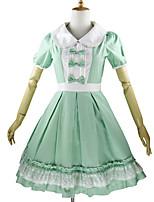 One-Piece/Dress Sweet Lolita Rococo Cosplay Lolita Dress Plaid Petal Short Sleeve Knee-length Dress For Cotton