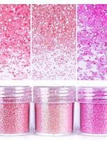 Розовый блестящий блеск ногтей порошок 1box 10 мл ногтей искусство советы ногтей украшения для ногтей для лака для ногтей