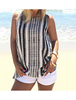 Women's Casual/Daily Simple T-shirt,Striped Round Neck Sleeveless Linen Thin