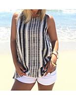 Mujer Simple Casual/Diario Camiseta,Escote Redondo A Rayas Sin Mangas Lino Fino
