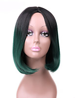 Fashion Sexy Women Straight Hair Short Wigs Black To Green Color Cosplay Synthetic Wigs