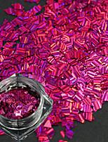 1 garrafa nova moda doce design rosa vermelho unha arte rhombus laser listra fino fatia diy beleza brilho deslumbrante paillette decoração