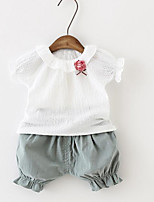 Girl Casual/Daily Floral Sets,Cotton Summer Spring Short Sleeve Clothing Set