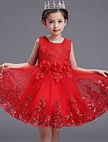 Ball Gown Short / Mini Flower Girl Dress - Cotton Lace Satin Tulle Jewel with Bow(s) Flower(s) Lace Sequins
