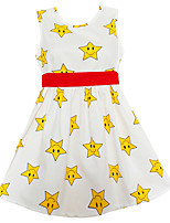 Girls Dress Yellow Stars Belt Dresses Party Casual Princess Kids Clothing