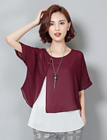 Women's Casual/Daily Simple Blouse,Solid Round Neck Short Sleeve Cotton
