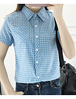 Women's Casual/Daily Simple Shirt,Striped Shirt Collar Short Sleeve Cotton