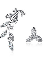 Stud Earrings AAA Cubic Zirconia Personalized Sterling Silver Leaf Jewelry For Wedding Party Daily Casual 1 pair