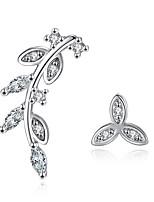 Ohrstecker Kubikzirkonia individualisiert Sterling Silber Blattform Schmuck Für Hochzeit Party Alltag Normal 1 Paar