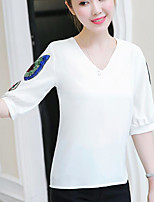 Women's Going out Cute T-shirt,Solid Striped V Neck ½ Length Sleeve Cotton