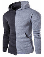 Men's Petite Casual/Daily Simple Hoodie Color Block Patchwork Round Neck Removable Lining Micro-elastic Cotton Long Sleeve