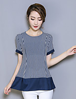 Women's Going out Casual/Daily Holiday Vintage Simple Summer T-shirt,Solid Striped Round Neck Short Sleeve Polyester Thin
