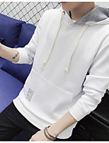 Men's Casual/Daily Hoodie Solid Round Neck Inelastic Rayon Long Sleeve Spring