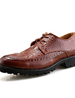 Men's Oxfords Spring Fall Formal Shoes Comfort Leather Wedding Office & Career Party & Evening Flat Heel Black Red Brown