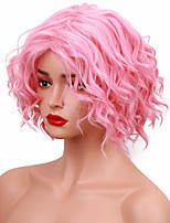 Pink Short Wig Wavy Glueless Heat Resistant Fiber Synthetic Wig Natural Hair Full Cosplay Costume Wig for Women