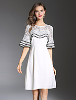 YHSPWomen's Going out Beach Holiday Simple Cute Sophisticated A Line Sheath Lace DressColor Block Embroidered Round Neck Above Knee Length
