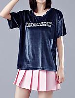 Feminino Camiseta Casual Simples Verão,Letra Poliéster Decote Redondo Manga Curta Média