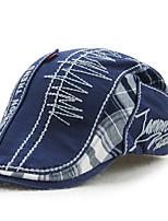 Men's Cotton Beret Hat Peaked Cap Vintage Casual Patchwork Sports Summer All Seasons Beige/Blue/Grey
