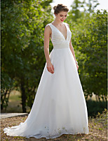 2017 LAN TING BRIDE A-line Wedding Dress - Glamorous & Dramatic Little White Dress See-Through Sweep / Brush Train V-neck Organza withDraped