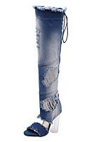 Women's Boots Summer Novelty Fabric Dress Chunky Heel Crystal Heel Blue