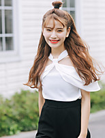 Women's Casual/Daily Simple Blouse,Solid Boat Neck Short Sleeve Others