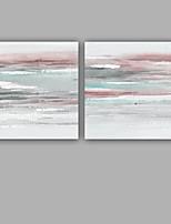 Pintados à mão Abstrato Quadrangular,Mediterrêneo Moderno 2 Painéis Tela Pintura a Óleo For Decoração para casa
