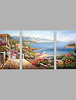 Hand-Painted Modern Med LandScape Oil Painting Three Panel Canvas Oil Painting Multi Split Oil Painting