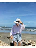 Women's Going out Holiday Simple Shirt,Solid Shirt Collar Long Sleeve Others