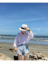 Damen Solide Einfach Ausgehen Urlaub Hemd,Hemdkragen Langarm Andere