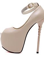 Черный Миндальный-Для женщин-Повседневный-ПолиуретанУдобная обувь-Обувь на каблуках