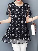 Women's Going out Casual/Daily Holiday Simple Street chic Active Summer Blouse,Print Round Neck Short Sleeve Others Medium