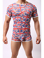 Printed geometric underwear for men's short-sleeved t-shirts and t-shirtsno underwear