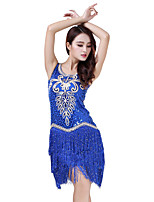 Latin Dance Dresses Women's Performance Sequined Sequin Tassel(s) 1 Piece Sleeveless Natural Dress