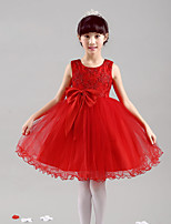 A-line Knee-length Flower Girl Dress - Satin Tulle Jewel with Bow(s)